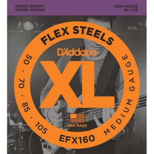D'Addario EFX160 FlexSteels Bass Guitar Strings 50-105 Long Scale