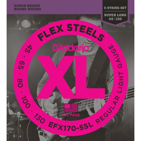 D'Addario EFX170-5SL FlexSteels Bass Guitar Strings 45-130 Super Long Scale, 5-String