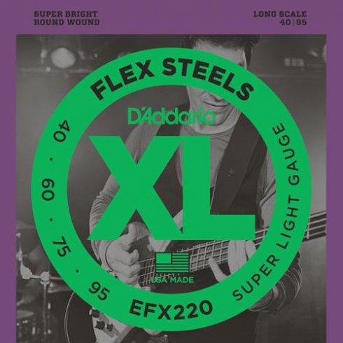 D'Addario EFX220 4-String FlexSteels Bass Guitar Strings 40-95 Long Scale