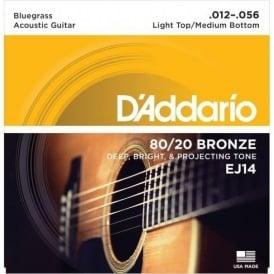 D'Addario EJ14 80/20 Bronze Acoustic Guitar Strings 12-56 Bluegrass