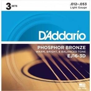 D'Addario EJ16-3D Phosphor Bronze Acoustic Guitar Strings 12-53 Light 3-Pack