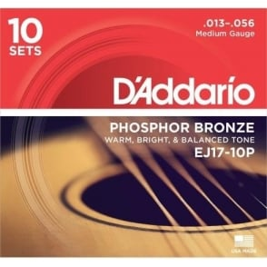 D'Addario EJ17-10P Phosphor Bronze Acoustic Guitar Strings 13-56 Medium 10-Pack