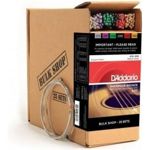 D'Addario EJ17-B25 Phosphor Bronze Acoustic Guitar Strings 13-56 Medium 25-Set Bulk Shop