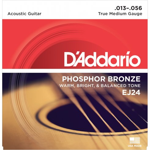 D'Addario EJ24 Phosphor Bronze Acoustic Guitar Strings 13-56 True Medium DADGAD