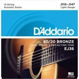 D'Addario EJ36 80/20 Bronze Acoustic Guitar Strings 10-47 12-String Extra Light