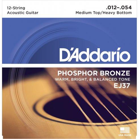D'Addario EJ37 Phosphor Bronze Acoustic Guitar Strings 12-54 12-String Light