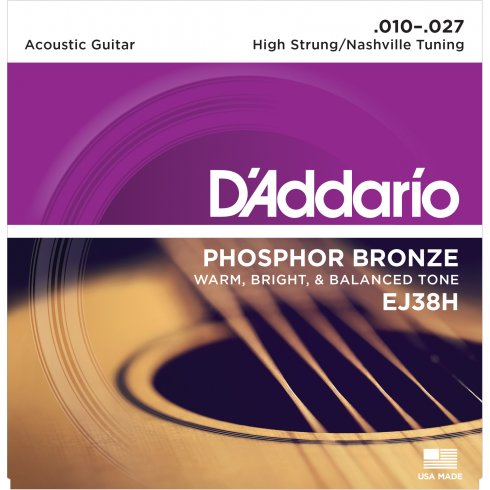 D'Addario EJ38H Phosphor Bronze Acoustic Guitar Strings 10-27 High Strung Tuning