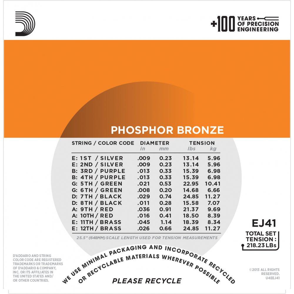 12 String Guitar Strings Extra Light : d 39 addario ej41 phosphor bronze 09 45 12 ~ Hamham.info Haus und Dekorationen