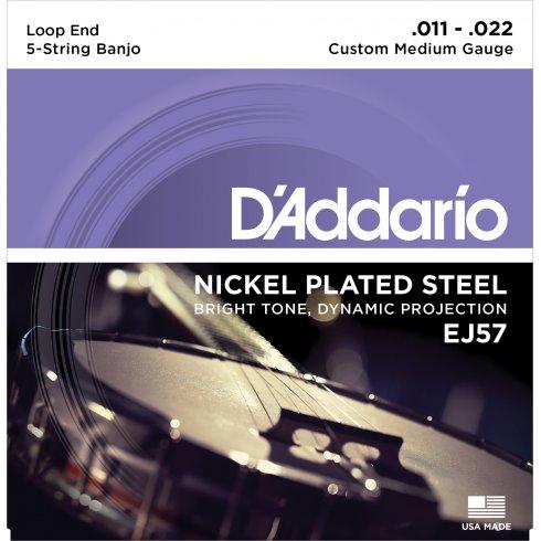 D'Addario EJ57 5-String Banjo, Nickel Wound, Loop End, 11-22 Custom Medium