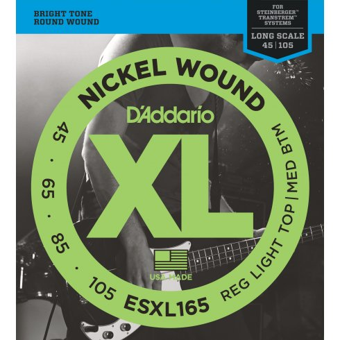 D'Addario ESXL165 XL Bass Nickel Wound, Custom Light, 45-105, Double Ball End, Long Scale