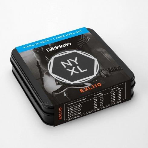 Addario EXL110 4-Set Tin Pack Nickel Wound Electric 10-46 Regular ...