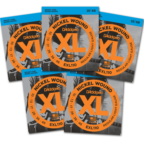 D'Addario EXL110-5PACK Nickel Wound Electric 10-46 Regular Light 5 Packs