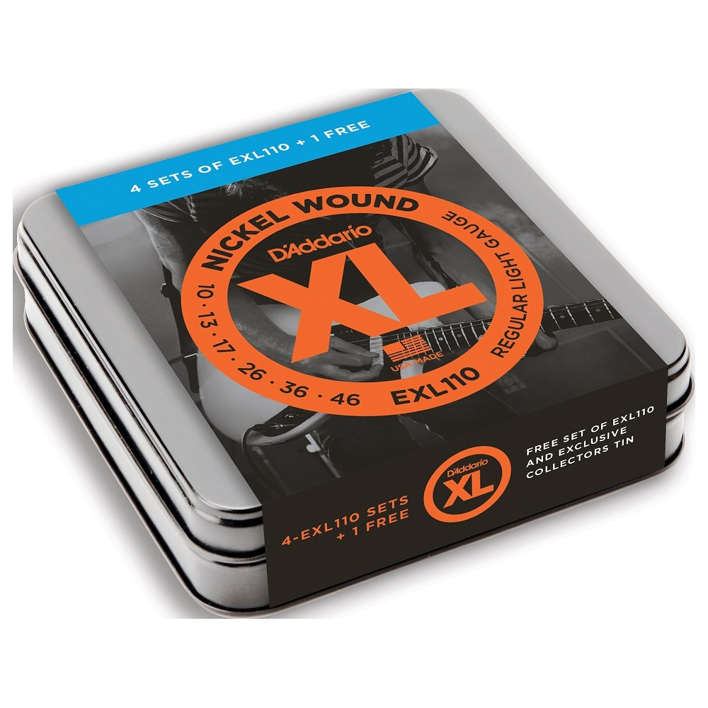 d 39 addario exl110 nickel wound 10 46 limited edition 5 pack tin. Black Bedroom Furniture Sets. Home Design Ideas