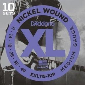 D'Addario EXL115-10P Nickel Wound Electric 11-49 Jazz Rock 10-Pack of Guitar Strings