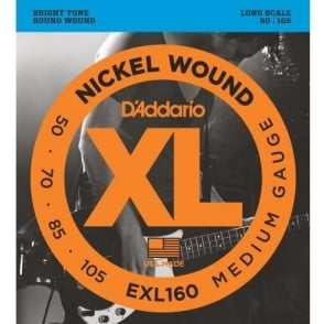 D'Addario EXL160 4-String Nickel Wound 50-105 Long Scale Bass Guitar Strings Medium