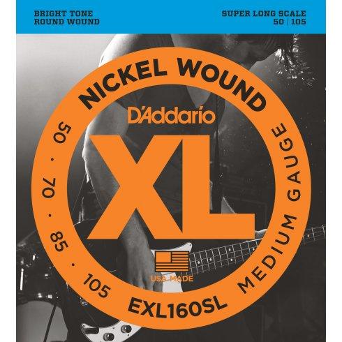 D'Addario EXL160SL 4-String Nickel Wound 50-105 Super Long Scale Bass Guitar Strings