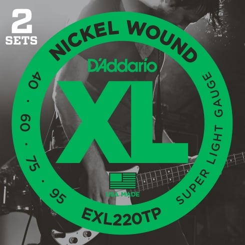 D'Addario EXL220TP Nickel Wound  4-String 40-95 Bass Guitar Strings 2-Pack