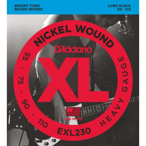 D'Addario EXL230 Nickel Wound 4-String 55-110 Long Scale Bass Guitar Strings