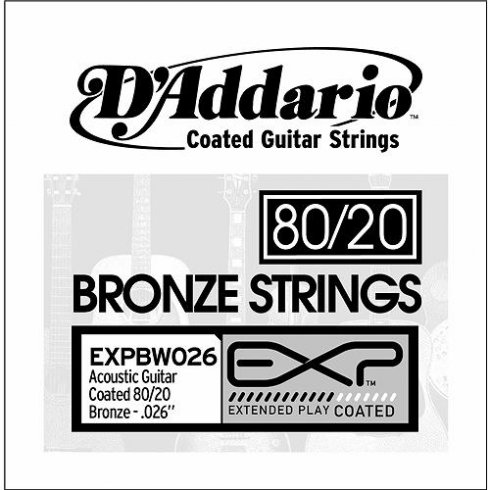 D'Addario EXPBW026 80/20 Bronze EXP Coated Acoustic Guitar Single String .026