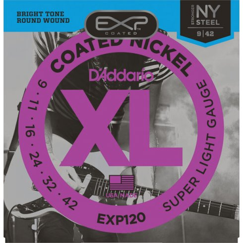 D'Addario Extended Play EXP120 Electric Guitar Strings 09-42 Super Light