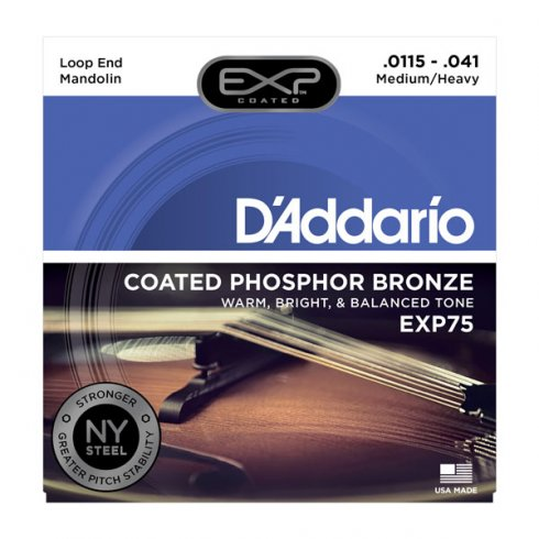 D'Addario Extended Play EXP75 Phosphor Bronze Mandolin Strings 11.5-41 Medium Heavy