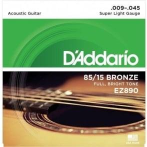 D'Addario EZ890 85/15 Bronze 09-45 Super Light Acoustic Guitar Strings
