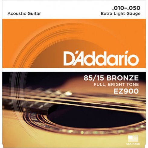 D'Addario EZ900 Great American 85/15 Bronze 10-50 Extra Light Acoustic Guitar Strings