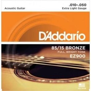 D'Addario EZ900 Great American 85/15 Bronze 10-50 Extra Light Acoustic Guitar Strings