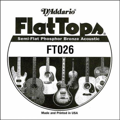 D'Addario FT026 Flat Top Semi-Flat Phosphor Bronze Acoustic Guitar Single String .026