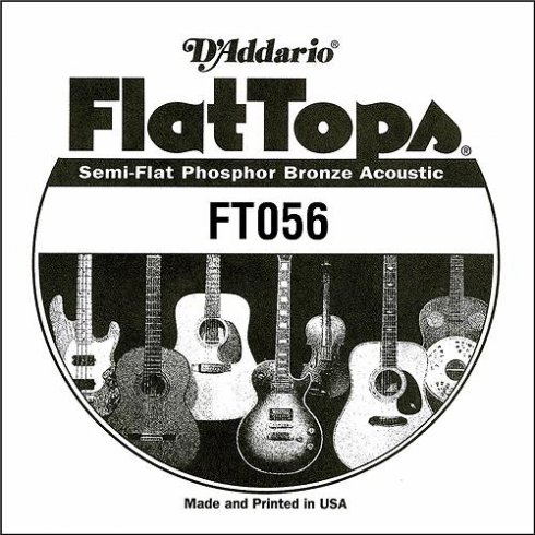 D'Addario FT056 Flat Top Semi-Flat Phosphor Bronze Acoustic Guitar Single String .056