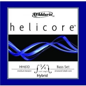 D'Addario HH610 Helicore Hybrid Double Bass String Set, 3/4 Scale, Medium Tension