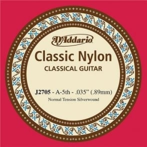 D'Addario J2705 Classic Silver Wound Nylon Normal Tension 5th A-String