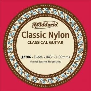 D'Addario J2706 Classic Silver Wound Nylon Normal Tension 6th E-String