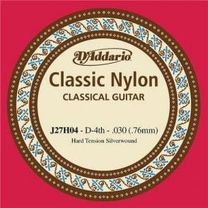 D'Addario J27H04 Classic Silver Wound Nylon Hard Tension 4th D-String