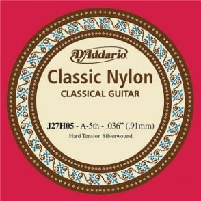 D'Addario J27H05 Classic Silver Wound Nylon Hard Tension 5th A-String
