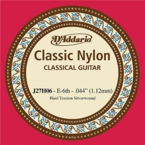 D'Addario J27H06 Classic Silver Wound Nylon Hard Tension 6th E-String