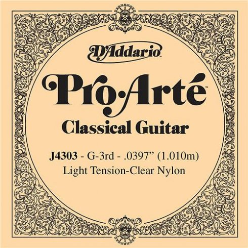 D'Addario J4303 Pro Arte Clear Nylon Light Tension Single String 3rd G-String