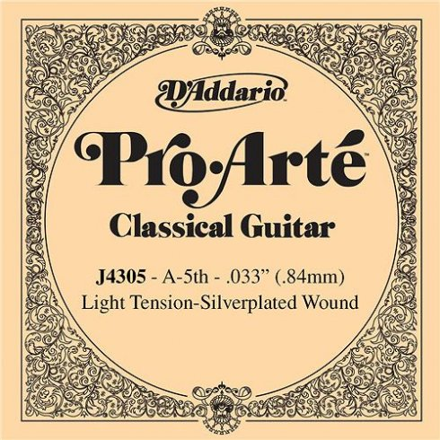 D'Addario J4305 Pro Arte Silverplated Wound on Nylon Light Tension Single String 5th A-String