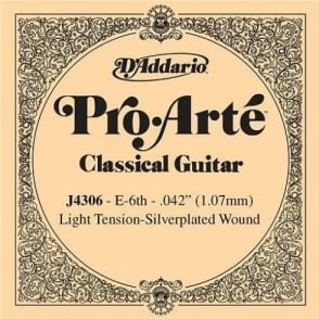 D'Addario J4306 Pro Arte Silverplated Wound on Nylon Light Tension Single String 6th E-String