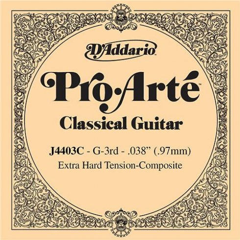 D'Addario J4403 Pro Arte Composite Nylon Extra Hard Tension Single String 3rd G-String