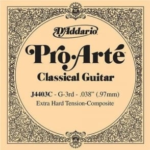 D'Addario J4403 Pro Arte Composite Nylon Extra Hard Tension Single String 3rd G-String