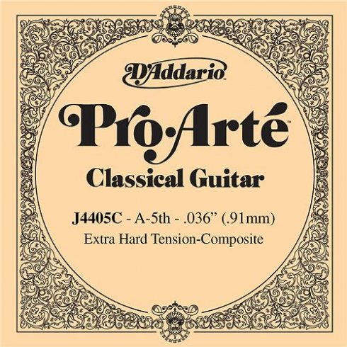 D'Addario J4405C Pro Arte Composite Silverplated Wound on Nylon Extra Hard Tension Single String 5th A-String