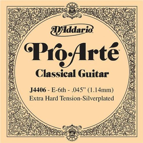 D'Addario J4406 Pro Arte Silverplated Wound on Nylon Extra Hard Tension Single String 6th E-String