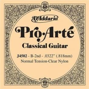D'Addario J4502 Pro Arte Clear Nylon Normal Tension Single String 2nd B-String