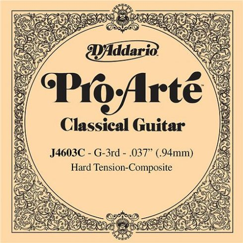 D'Addario J4603C Pro Arte Composite Silverplated Wound on Nylon Hard Tension Single String 3rd G-String