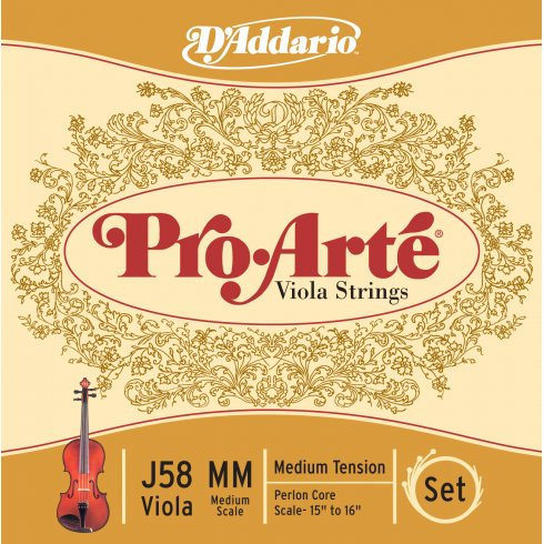 D'Addario J58-MM Pro-Arte Viola String Set, Medium Scale, Medium Tension
