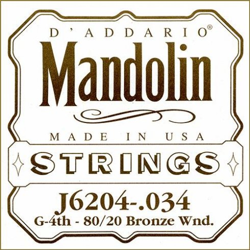 D'Addario J6204 80/20 Bronze Mandolin Loopend Single String .034 4th