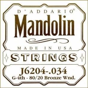 D'Addario J6204 80/20 Bronze Mandolin Loopend Single String .034 4th