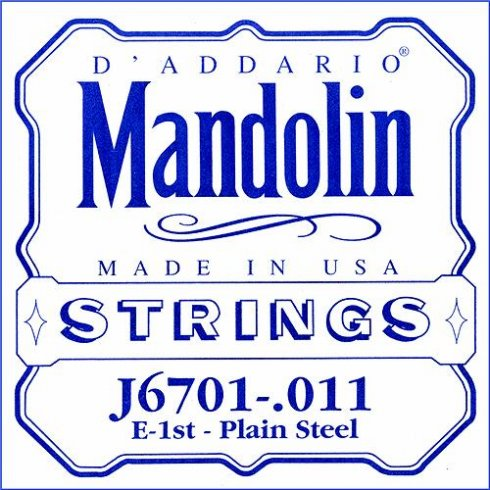D'Addario J6701 Plain Steel Mandolin Loopend Single String .011 1st