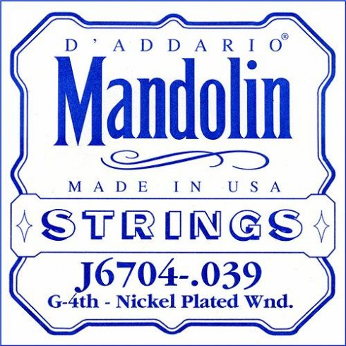 D'Addario J6704 Nickel Wound Mandolin Loopend Single String .039 4th